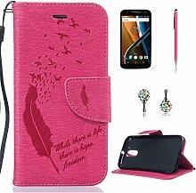 Pheant® [4in 1] Motorola Moto G4 Hülle Schutzhülle Tasche aus PU Leder Feder Prägemuster Design mit Panzerfolie Eingabestift und Kristall Staub Stecker(Rose Rote)