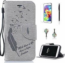 Pheant® [4in 1] Samsung Galaxy S5 Hülle Schutzhülle Tasche aus PU Leder Feder Prägemuster Design mit Panzerfolie Eingabestift und Kristall Staub Stecker(Grau)