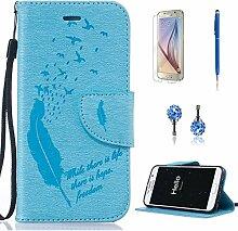 Pheant® [4in 1] Samsung Galaxy S6 Hülle Schutzhülle Tasche aus PU Leder Feder Prägemuster Design mit Panzerfolie Eingabestift und Kristall Staub Stecker(Hellblau)