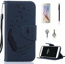 Pheant® [4in 1] Samsung Galaxy S6 Hülle Schutzhülle Tasche aus PU Leder Feder Prägemuster Design mit Panzerfolie Eingabestift und Kristall Staub Stecker(Dunkelblau)