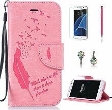 Pheant® [4in 1] Samsung Galaxy S7 Hülle Schutzhülle Tasche aus PU Leder Feder Prägemuster Design mit Panzerfolie Eingabestift und Kristall Staub Stecker(Rosa)