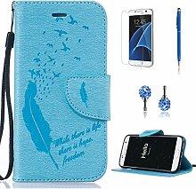 Pheant® [4in 1] Samsung Galaxy S7 Hülle Schutzhülle Tasche aus PU Leder Feder Prägemuster Design mit Panzerfolie Eingabestift und Kristall Staub Stecker(Hellblau)