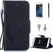 Pheant® [4in 1] Samsung Galaxy S7 Hülle Schutzhülle Tasche aus PU Leder Feder Prägemuster Design mit Panzerfolie Eingabestift und Kristall Staub Stecker(Schwarz)