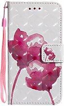Pheant® für LG Q6/G6 Mini Hülle 3D Effekt Design Schutzhülle PU Leder Tasche Silikon Schale Brieftasche Klapphülle mit Standfunktion Kartenfach und Magnetverschluss Rot Rose Muster