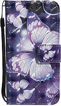 Pheant® für LG Q6/G6 Mini Hülle 3D Effekt Design Schutzhülle PU Leder Tasche Silikon Schale Brieftasche Klapphülle mit Standfunktion Kartenfach und Magnetverschluss Schmetterling Muster