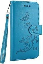 Pheant® für Samsung Galaxy S7 Hülle Brieftasche Schutzhülle aus PU Leder Transparent Innenschale Klapphülle mit Kartenfach Standfunktion und Magnetverschluss Schmetterling Prägemuster Design Blau