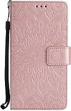 Pheant® Huawei Honor 6X Hülle Handy Tasche Handyhülle Silikonhülle Schutzhülle Brieftasche Handytasche aus PU Leder Sonnenblume Prägemuster Design Rose Gold