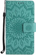 Pheant® Huawei Honor 6X Hülle Handy Tasche Handyhülle Silikonhülle Schutzhülle Brieftasche Handytasche aus PU Leder Sonnenblume Prägemuster Design Grün