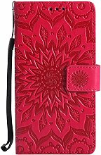 Pheant® Huawei Honor 6X Hülle Handy Tasche Handyhülle Silikonhülle Schutzhülle Brieftasche Handytasche aus PU Leder Sonnenblume Prägemuster Design Ro