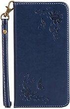 Pheant® Huawei P10 Handyhülle Schutz Hülle Tasche aus PU Leder Silikonhülle Rose Prägemuster Design mit Ständer,Kartenfach und unsichtbarem Magnet-Verschluss Dunkel Blau