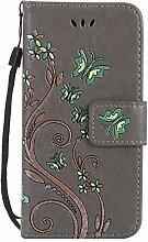 Pheant® Huawei P10 Lite Hülle Tasche Handyhülle aus PU Leder Silikonhülle Handytasche Brieftasche Schutzhülle Schmetterling Prägemuster Design Grau