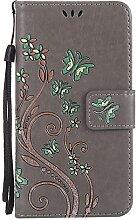 Pheant® Huawei P8 Lite Hülle Tasche Handyhülle aus PU Leder Silikonhülle Handytasche Brieftasche Schutzhülle Schmetterling Prägemuster Design Grau