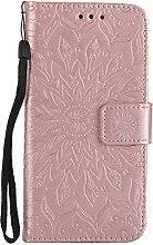 Pheant® LG G3 Hülle Handy Tasche Handyhülle Silikonhülle Schutzhülle Brieftasche Handytasche aus PU Leder Sonnenblume Prägemuster Design Rose Gold