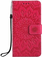 Pheant® LG G5 Hülle Handy Tasche Handyhülle Silikonhülle Schutzhülle Brieftasche Handytasche aus PU Leder Sonnenblume Prägemuster Design Ro