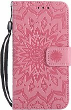 Pheant® LG Xpower Hülle Handy Tasche Handyhülle Silikonhülle Schutzhülle Brieftasche Handytasche aus PU Leder Sonnenblume Prägemuster Design Rosa