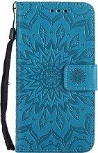 Pheant® LG Xpower Hülle Handy Tasche Handyhülle Silikonhülle Schutzhülle Brieftasche Handytasche aus PU Leder Sonnenblume Prägemuster Design Blau