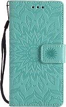 Pheant® Sony Xperia M2 Aqua Hülle Handy Tasche Handyhülle Silikonhülle Schutzhülle Brieftasche Handytasche aus PU Leder Sonnenblume Prägemuster Design Grün
