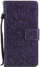 Pheant® Sony Xperia M2 Aqua Hülle Handy Tasche Handyhülle Silikonhülle Schutzhülle Brieftasche Handytasche aus PU Leder Sonnenblume Prägemuster Design Dunkellila