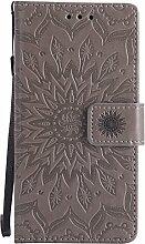 Pheant® Sony Xperia M4 Aqua Hülle Handy Tasche Handyhülle Silikonhülle Schutzhülle Brieftasche Handytasche aus PU Leder Sonnenblume Prägemuster Design Grau