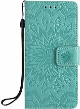 Pheant® Sony Xperia XA Hülle Handy Tasche Handyhülle Silikonhülle Schutzhülle Brieftasche Handytasche aus PU Leder Sonnenblume Prägemuster Design Grün