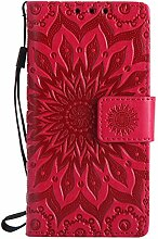 Pheant® Sony Xperia Z5 Compact/ Z5 Mini Hülle Handy Tasche Handyhülle Silikonhülle Schutzhülle Brieftasche Handytasche aus PU Leder Sonnenblume Prägemuster Design Ro