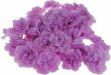 Phenovo 50pcs Künstliche Blumen Kunstblumen Rose Blumen Köpfe Hausdeko Wedding Deko - Helles Lila