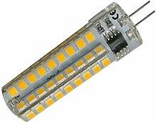 Phigoning 5 Stück Dimmbare G4 6W Capsule LED 72 SMD 2835 G4 LED Mais Lampe Dimmbar LED Leuchtmittel Lampe Mit Silikon Mantel AC220-240V Warmweiß