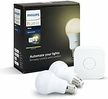 Philips Hue White E27 LED Lampe Starter Set, zwei