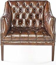 Phoenixarts Chesterfield Ledersessel Braun Vintage
