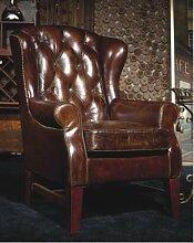 Phoenixarts Chesterfield Vintage Ledersessel Braun