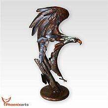 Phoenixarts Metall Eisen Skulptur Adler (46x78x25)