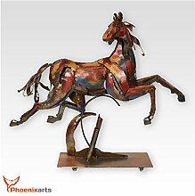 Phoenixarts Metall Eisen Skulptur Pferd (70x61x15)