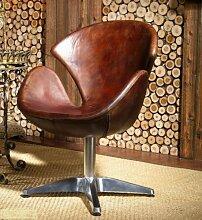 Phoenixarts Vintage Echtleder Sessel Retro