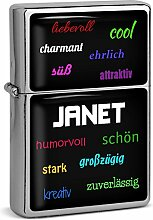 PhotoFancy® - Sturmfeuerzeug Set mit Namen Janet