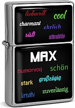 PhotoFancy® - Sturmfeuerzeug Set mit Namen Max -