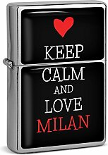 PhotoFancy® - Sturmfeuerzeug Set mit Namen Milan