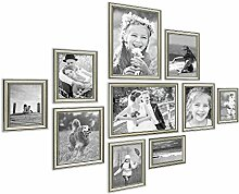 Photolini 10er Bilderrahmen-Collage Silber Barock