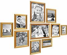 PHOTOLINI 10er Bilderrahmen-Set Gold Barock Antik