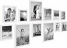 PHOTOLINI 12er Set Landhaus-Bilderrahmen Weiss