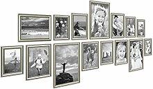 PHOTOLINI 15er Bilderrahmen-Collage Silber Barock