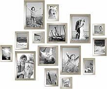 Photolini 15er Set Bilderrahmen Modern Silber
