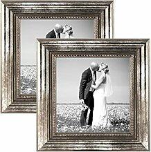 PHOTOLINI 2er Set Bilderrahmen 10x10 cm Silber