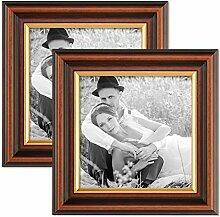 PHOTOLINI 2er Set Bilderrahmen 15x15 cm Antik