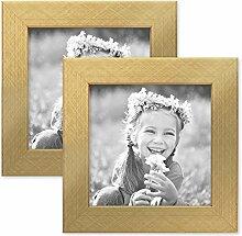 PHOTOLINI 2er Set Bilderrahmen 15x15 cm Gold