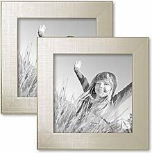PHOTOLINI 2er Set Bilderrahmen 15x15 cm Silber