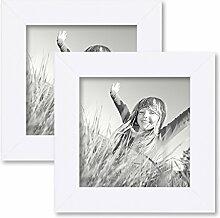 PHOTOLINI 2er Set Bilderrahmen 15x15 cm Weiss