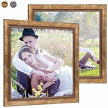 PHOTOLINI 2er Set Bilderrahmen 20x20 cm Gold