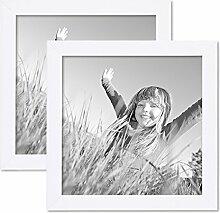 PHOTOLINI 2er Set Bilderrahmen 20x20 cm Weiss