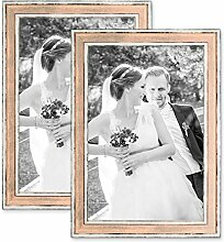 PHOTOLINI 2er Set Bilderrahmen Pastell/Alt-Weiß