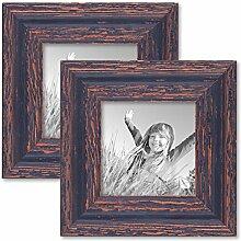 PHOTOLINI 2er Set Vintage Bilderrahmen 10x10 cm